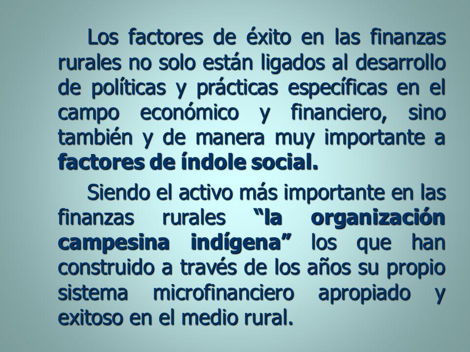 Los factores de éxito en las finanzas rurales no solo están ligados al desarrollo de políticas y prácticas específicas en el campo económico y financiero, sino también y de manera muy importante a factores de índole social.