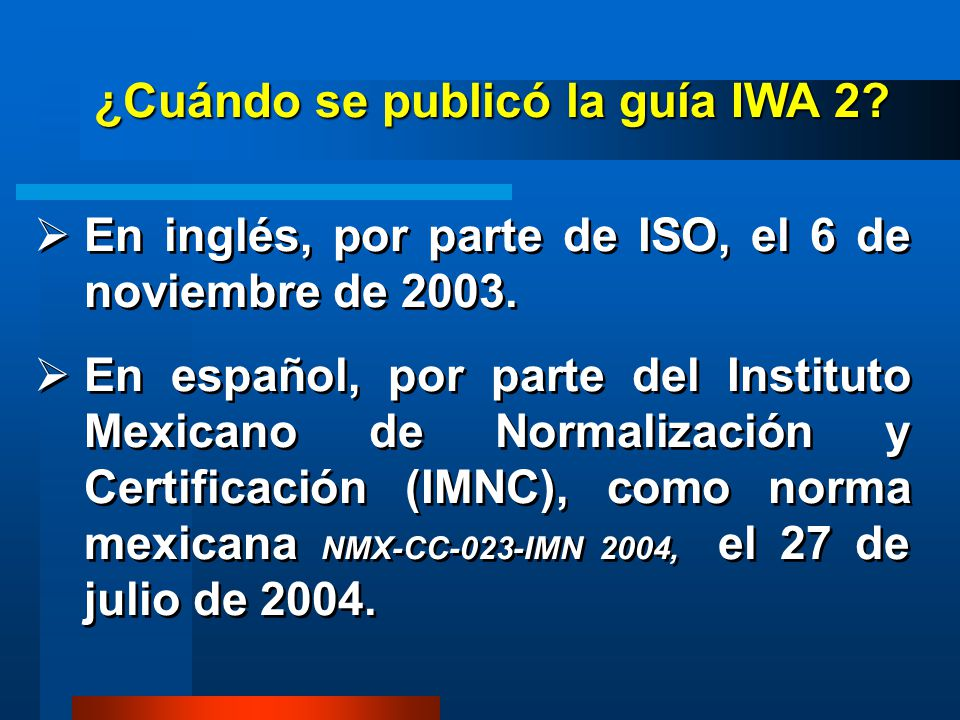 ¿Cuándo se publicó la guía IWA 2