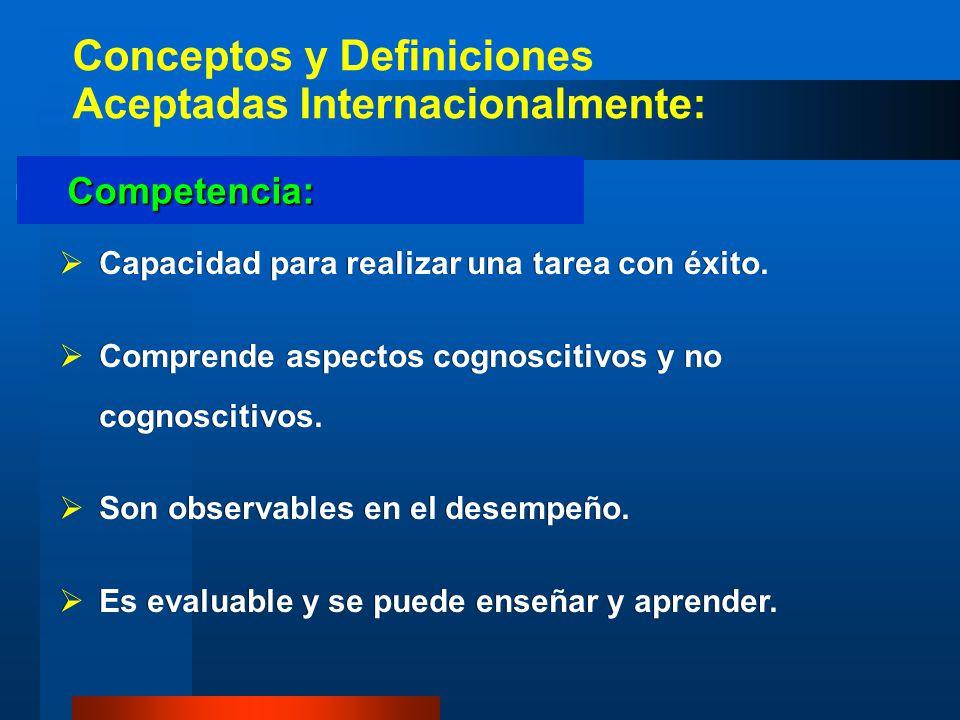 Conceptos y Definiciones Aceptadas Internacionalmente: