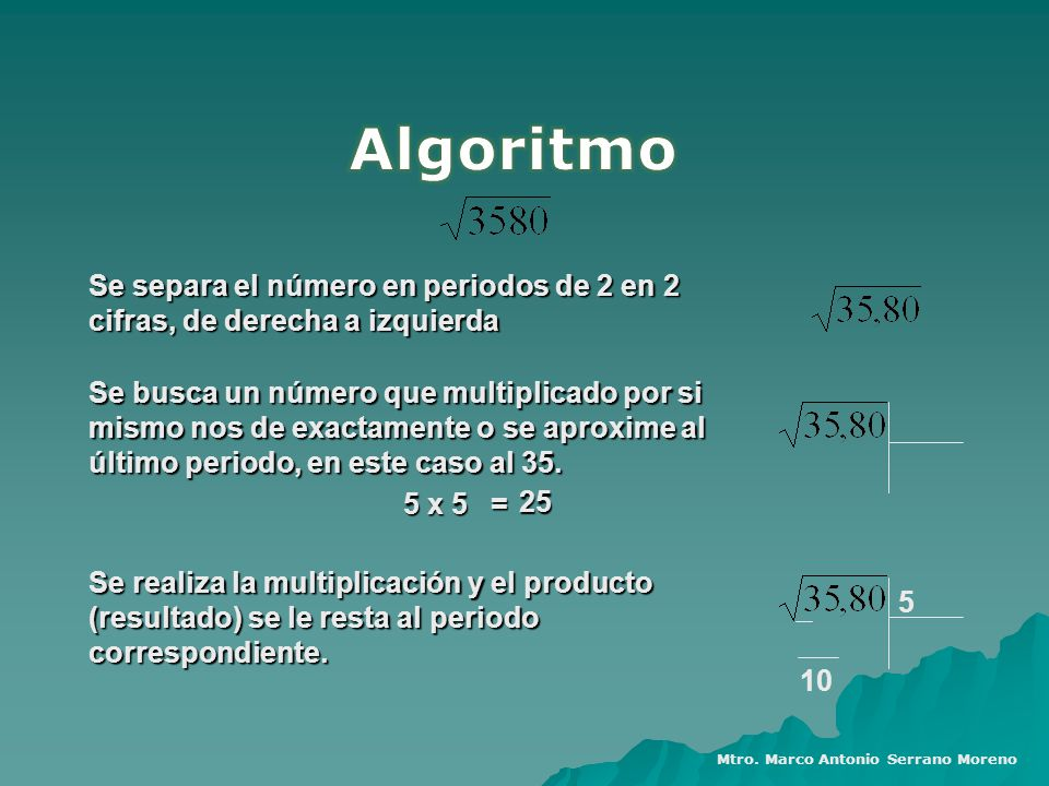 Algoritmo Se separa el número en periodos de 2 en 2 cifras, de derecha a izquierda.