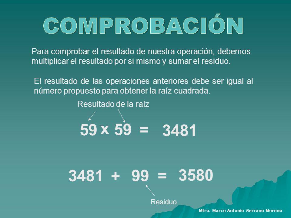 COMPROBACIÓN Para comprobar el resultado de nuestra operación, debemos multiplicar el resultado por si mismo y sumar el residuo.