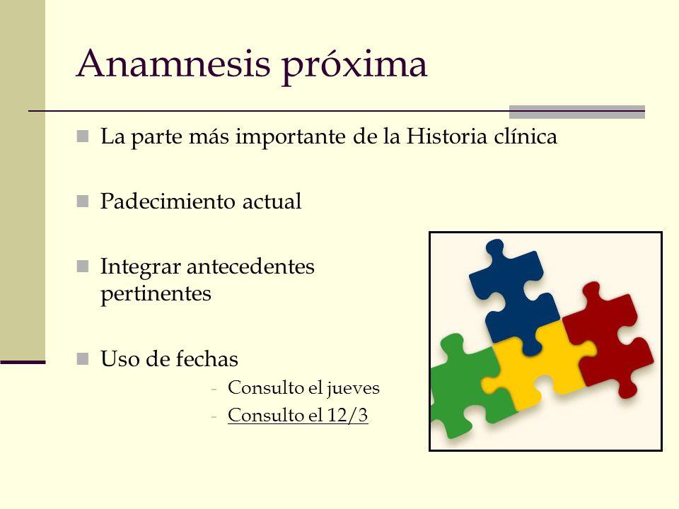 Anamnesis próxima La parte más importante de la Historia clínica