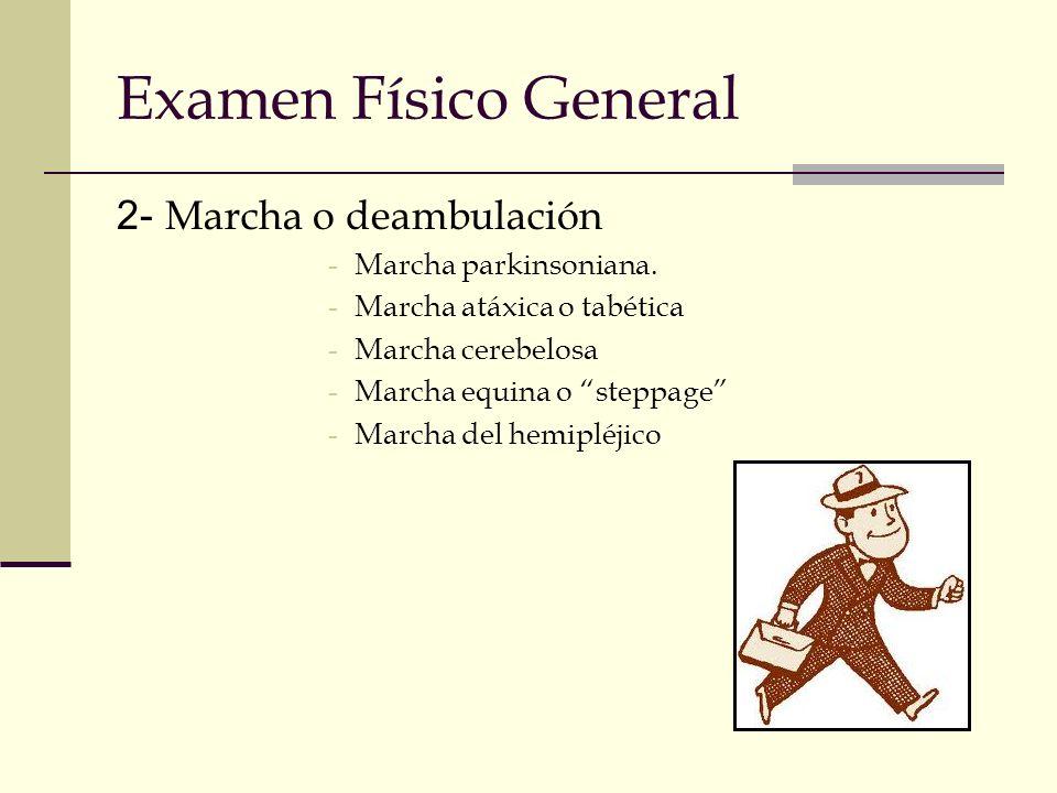 Examen Físico General 2- Marcha o deambulación Marcha parkinsoniana.