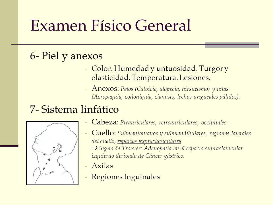 Examen Físico General 6- Piel y anexos 7- Sistema linfático