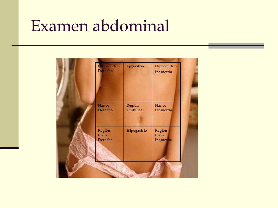 Examen abdominal Hipocondrio Derecho Epigastrio Hipocondrio Izquierdo