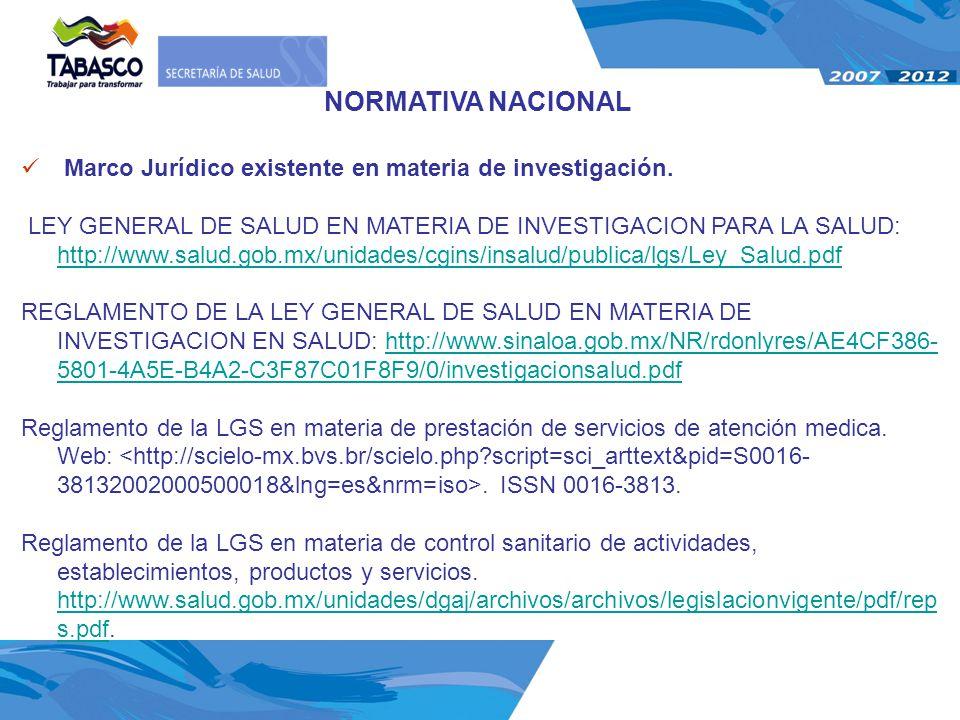 NORMATIVA NACIONAL Marco Jurídico existente en materia de investigación.