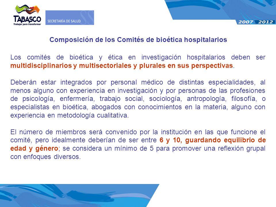 Composición de los Comités de bioética hospitalarios