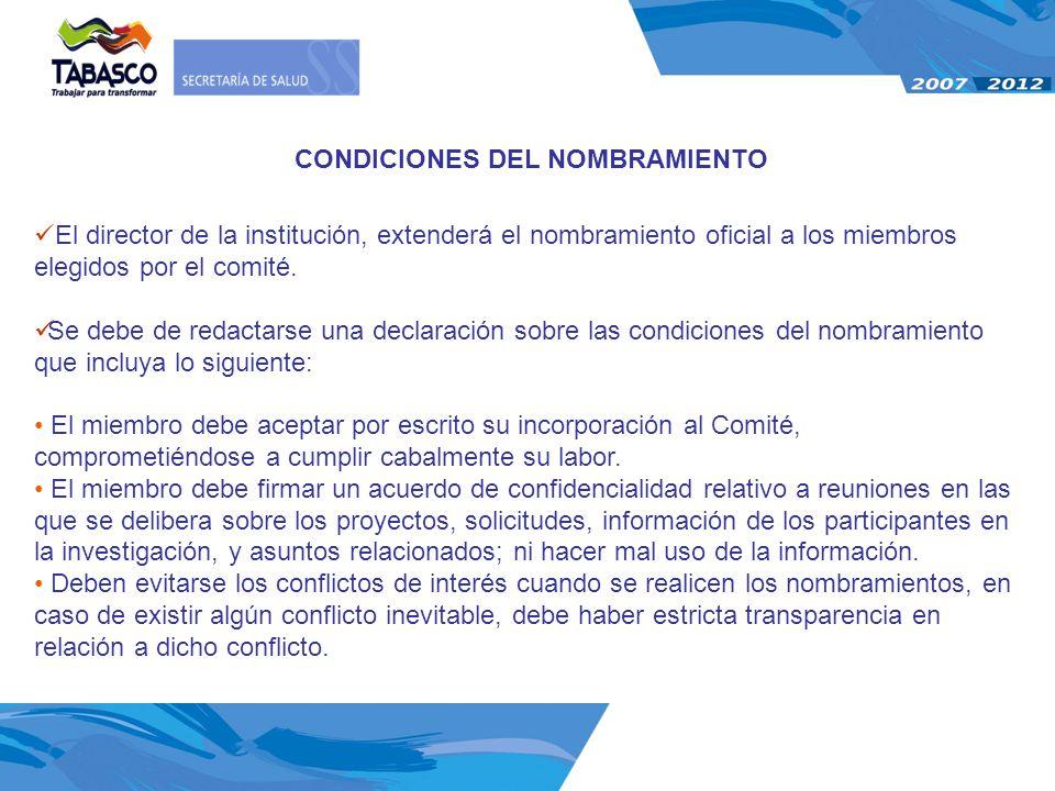 CONDICIONES DEL NOMBRAMIENTO