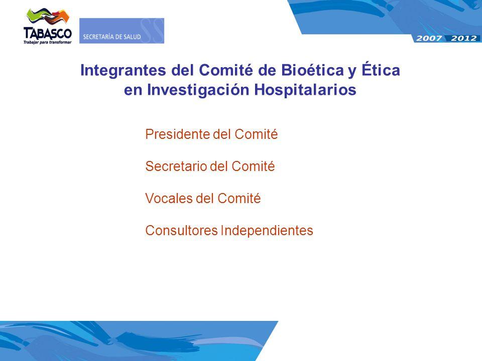 Integrantes del Comité de Bioética y Ética en Investigación Hospitalarios