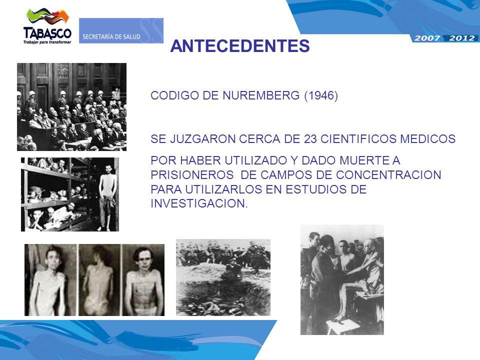 ANTECEDENTES CODIGO DE NUREMBERG (1946)