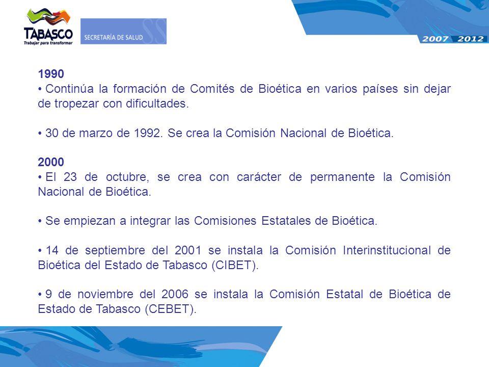 30 de marzo de 1992. Se crea la Comisión Nacional de Bioética. 2000