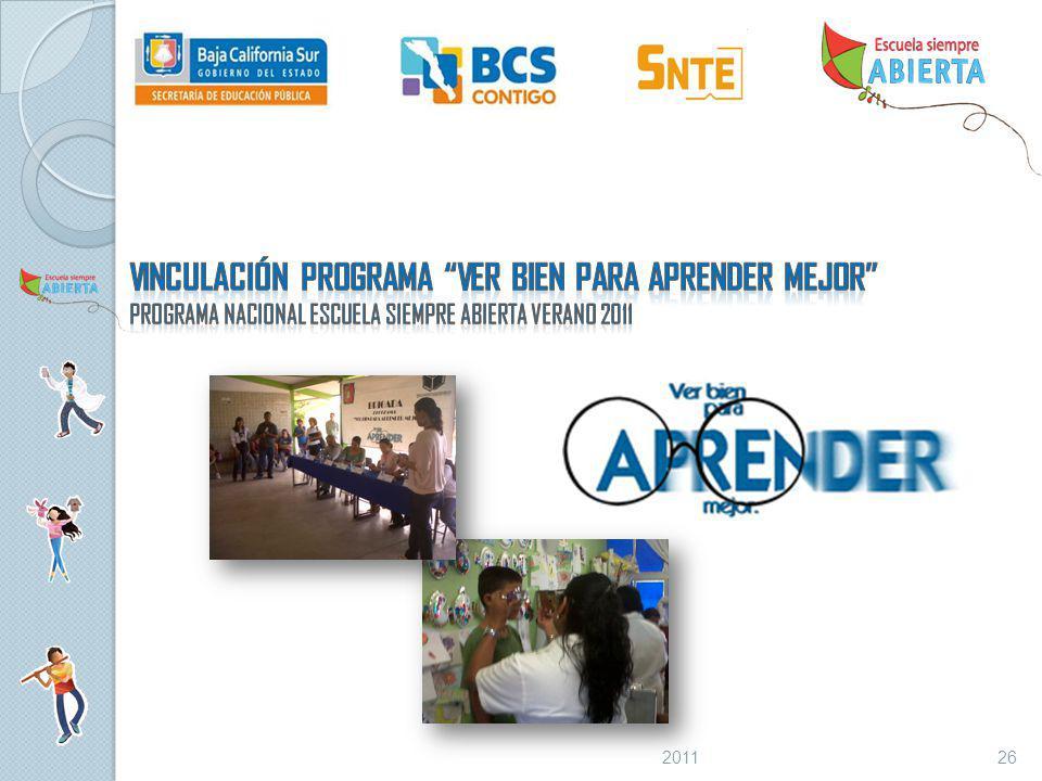 Vinculación programa ver bien para aprender mejor Programa Nacional Escuela Siempre Abierta VERANO 2011