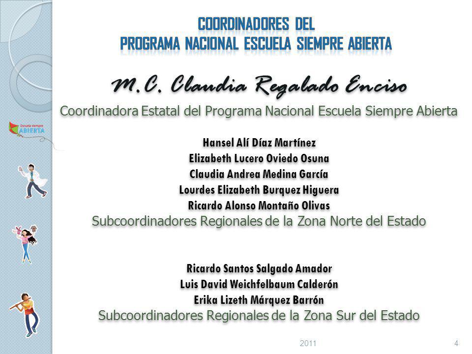 COORDINADORES DEL PROGRAMA NACIONAL ESCUELA SIEMPRE ABIERTA