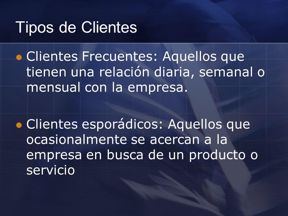 Tipos de Clientes Clientes Frecuentes: Aquellos que tienen una relación diaria, semanal o mensual con la empresa.