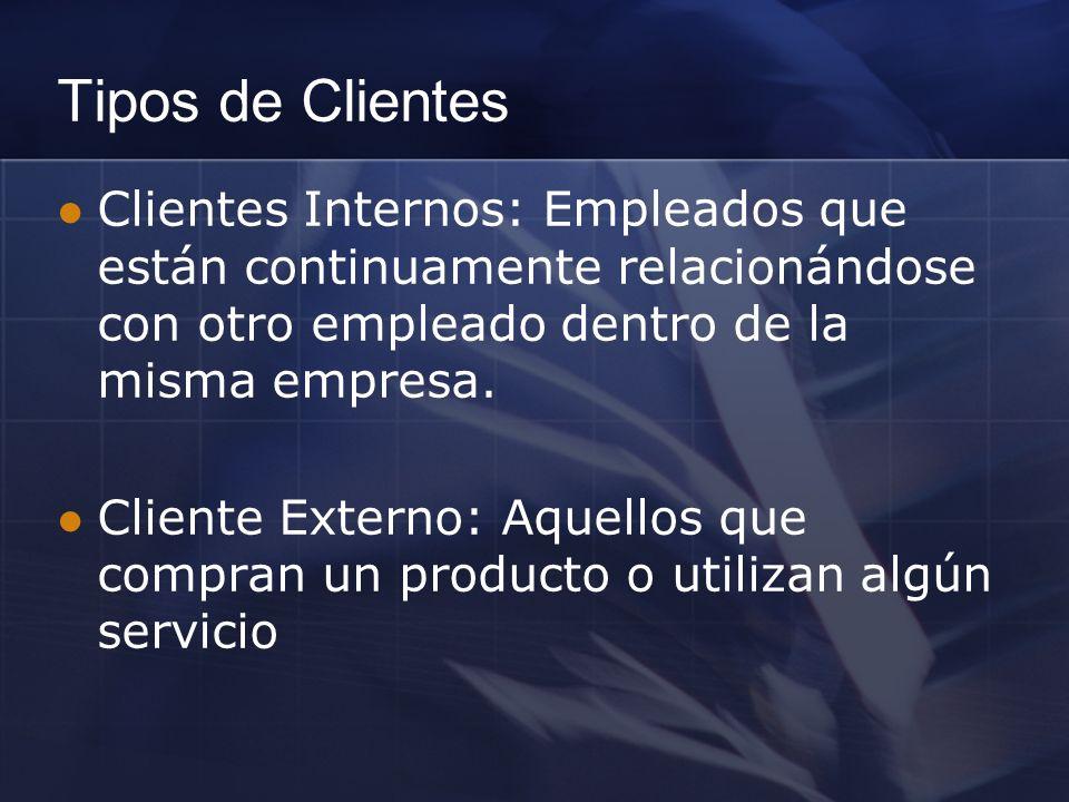 Tipos de Clientes Clientes Internos: Empleados que están continuamente relacionándose con otro empleado dentro de la misma empresa.