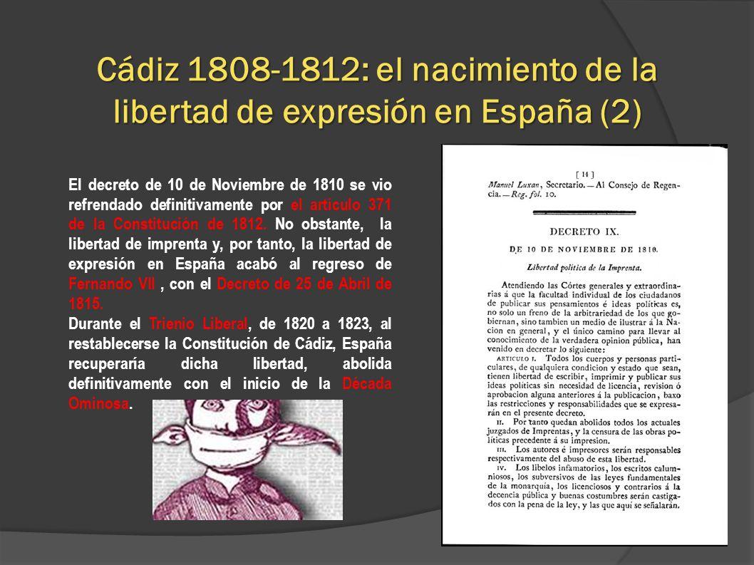 Cádiz 1808-1812: el nacimiento de la libertad de expresión en España (2)