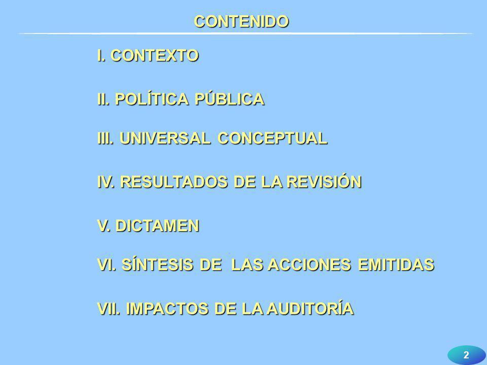 CONTENIDO I. CONTEXTO. II. POLÍTICA PÚBLICA. III. UNIVERSAL CONCEPTUAL. IV. RESULTADOS DE LA REVISIÓN.