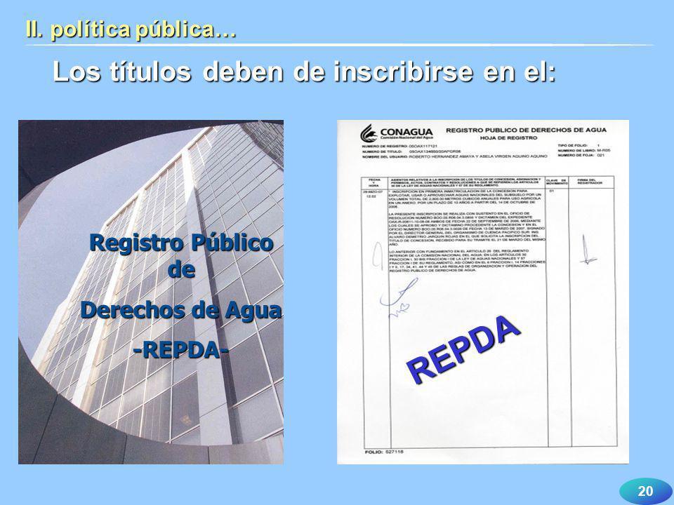 REPDA Los títulos deben de inscribirse en el: II. política pública…