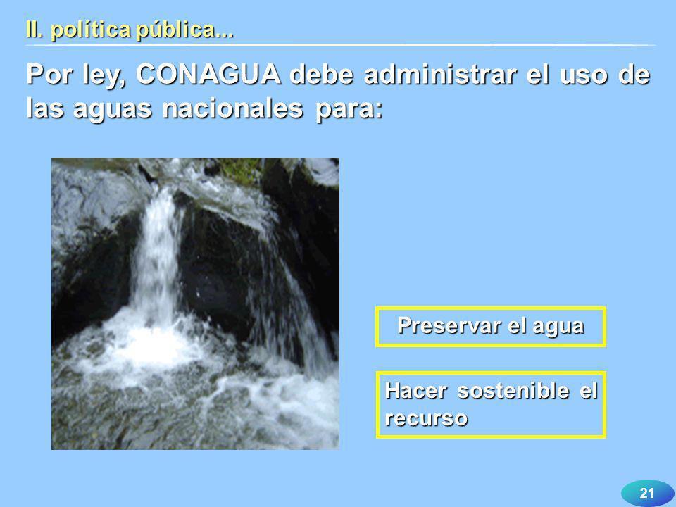 Por ley, CONAGUA debe administrar el uso de las aguas nacionales para: