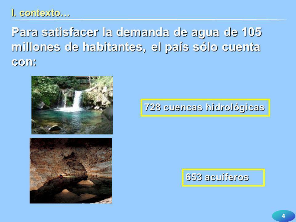 I. contexto… Para satisfacer la demanda de agua de 105 millones de habitantes, el país sólo cuenta con: