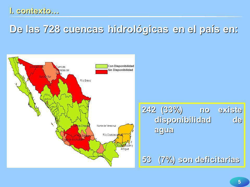 De las 728 cuencas hidrológicas en el país en: