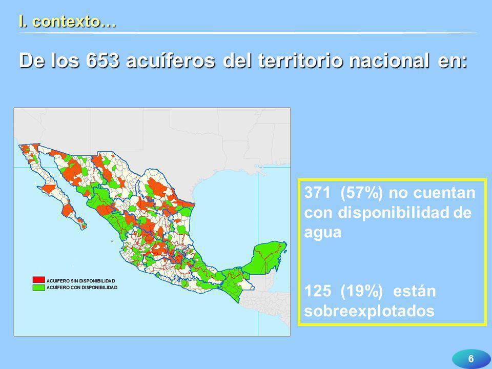 De los 653 acuíferos del territorio nacional en: