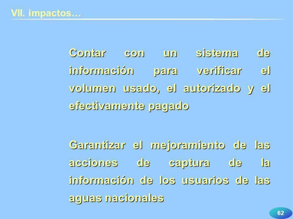 VII. impactos… Contar con un sistema de información para verificar el volumen usado, el autorizado y el efectivamente pagado.