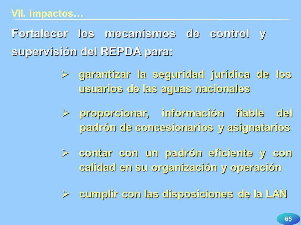 Fortalecer los mecanismos de control y supervisión del REPDA para: