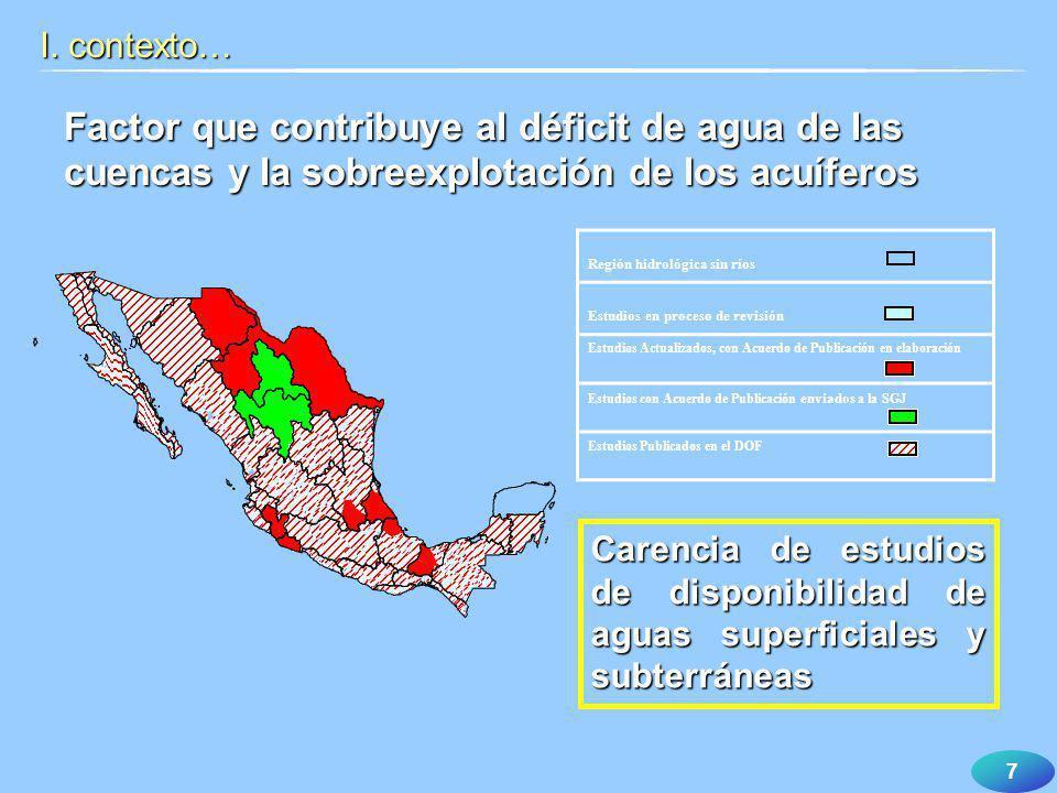 I. contexto… Factor que contribuye al déficit de agua de las cuencas y la sobreexplotación de los acuíferos.