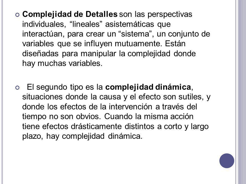 Complejidad de Detalles son las perspectivas individuales, lineales asistemáticas que interactúan, para crear un sistema , un conjunto de variables que se influyen mutuamente. Están diseñadas para manipular la complejidad donde hay muchas variables.