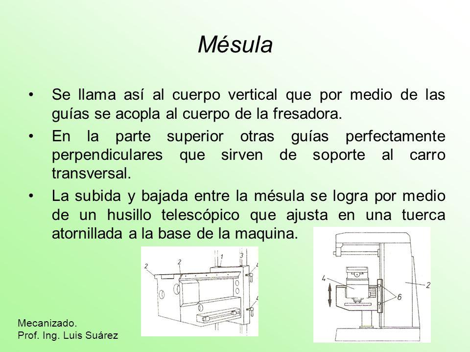 Mésula Se llama así al cuerpo vertical que por medio de las guías se acopla al cuerpo de la fresadora.