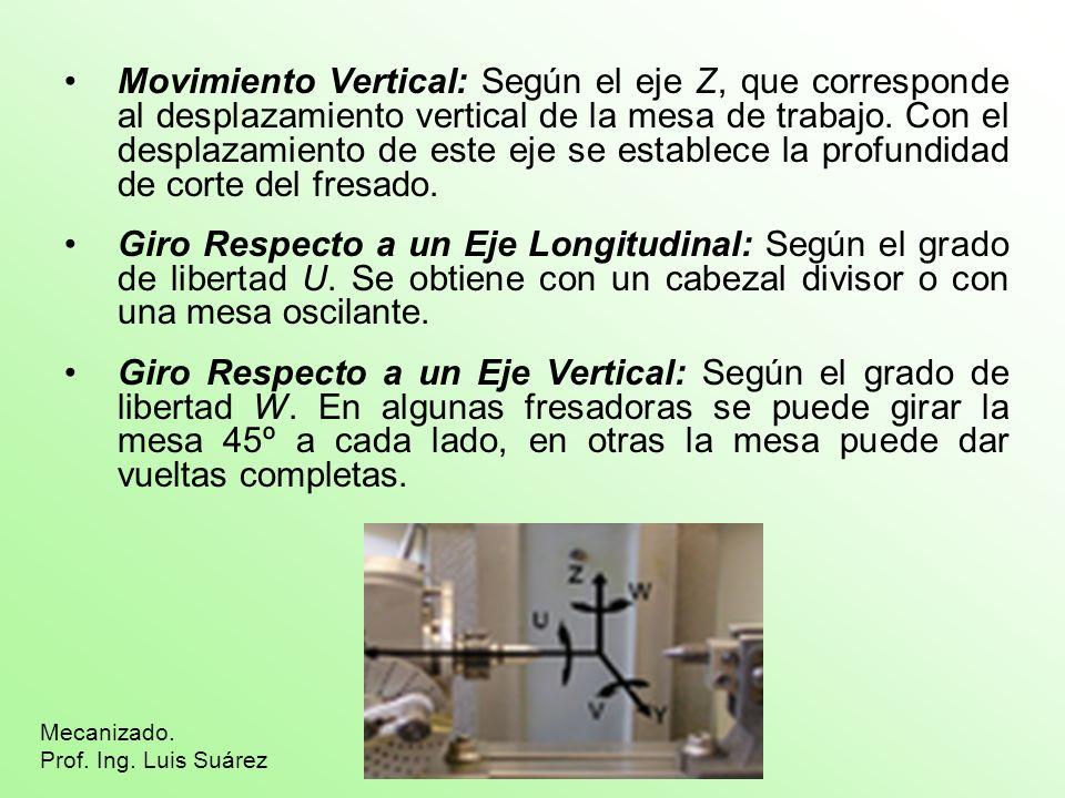 Movimiento Vertical: Según el eje Z, que corresponde al desplazamiento vertical de la mesa de trabajo. Con el desplazamiento de este eje se establece la profundidad de corte del fresado.