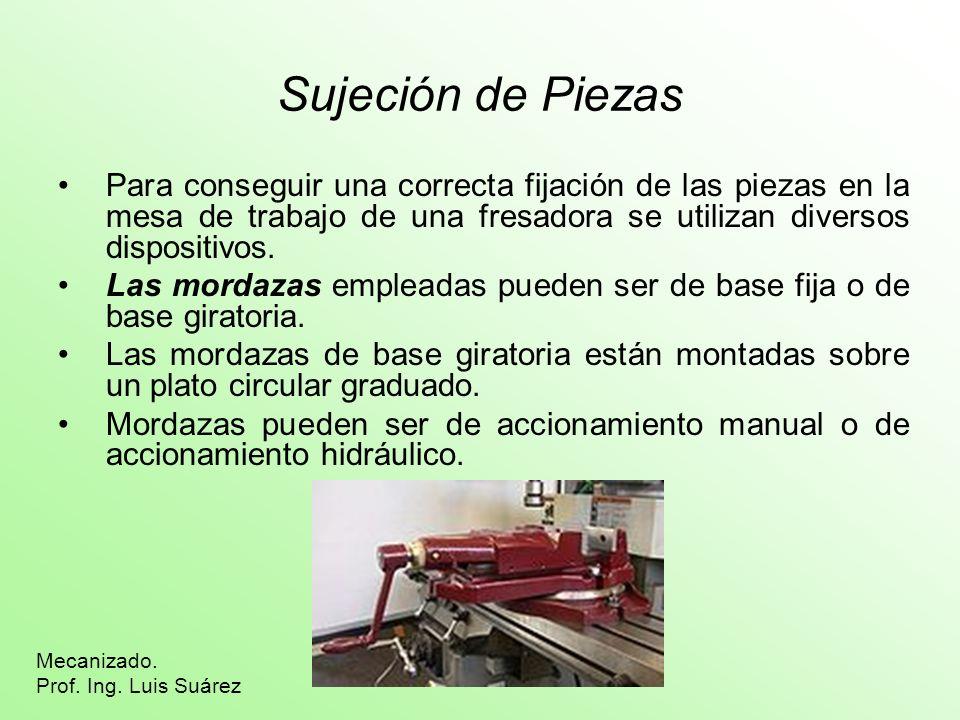 Sujeción de Piezas Para conseguir una correcta fijación de las piezas en la mesa de trabajo de una fresadora se utilizan diversos dispositivos.