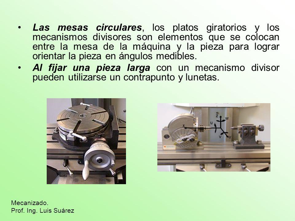 Las mesas circulares, los platos giratorios y los mecanismos divisores son elementos que se colocan entre la mesa de la máquina y la pieza para lograr orientar la pieza en ángulos medibles.
