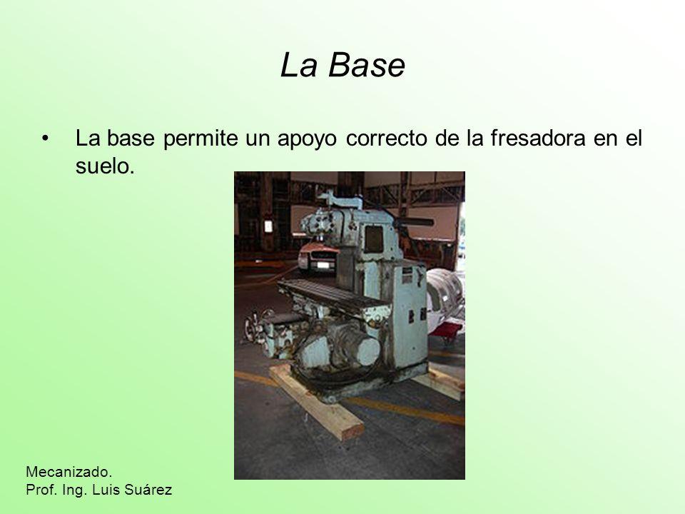 La Base La base permite un apoyo correcto de la fresadora en el suelo.
