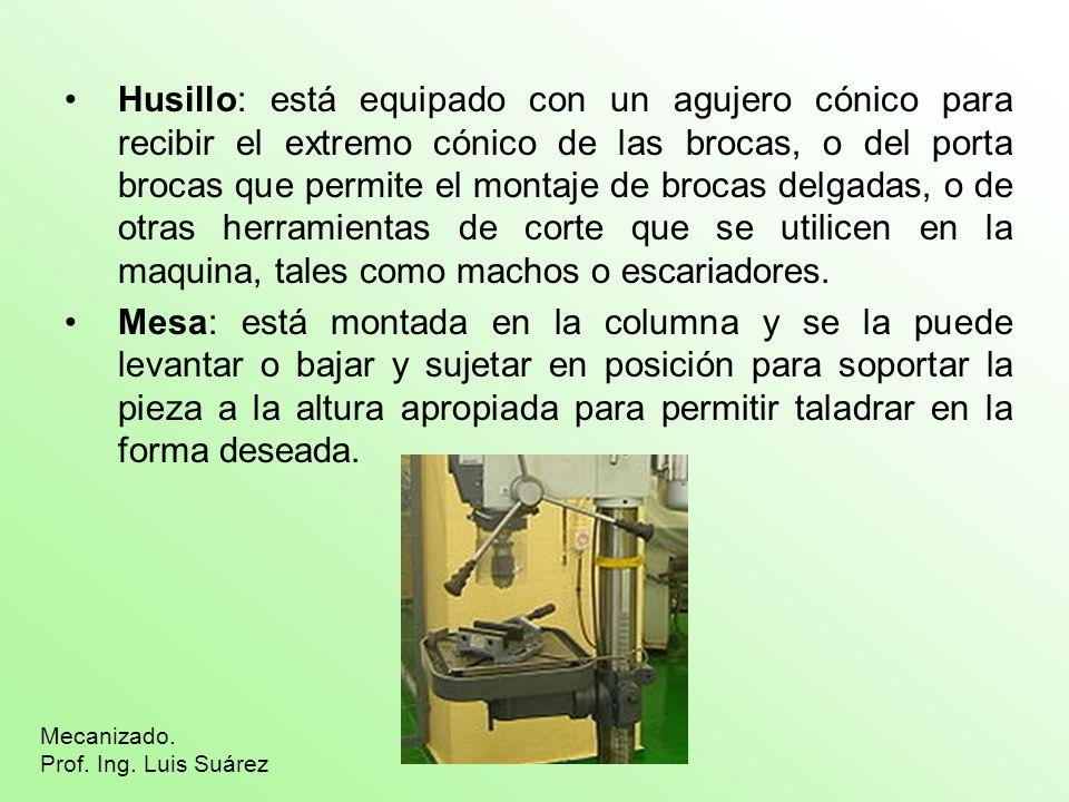 Husillo: está equipado con un agujero cónico para recibir el extremo cónico de las brocas, o del porta brocas que permite el montaje de brocas delgadas, o de otras herramientas de corte que se utilicen en la maquina, tales como machos o escariadores.