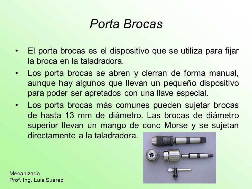 Porta Brocas El porta brocas es el dispositivo que se utiliza para fijar la broca en la taladradora.