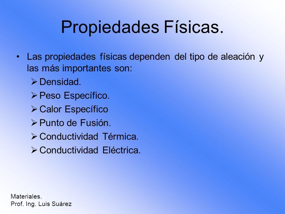 Propiedades Físicas. Las propiedades físicas dependen del tipo de aleación y las más importantes son: