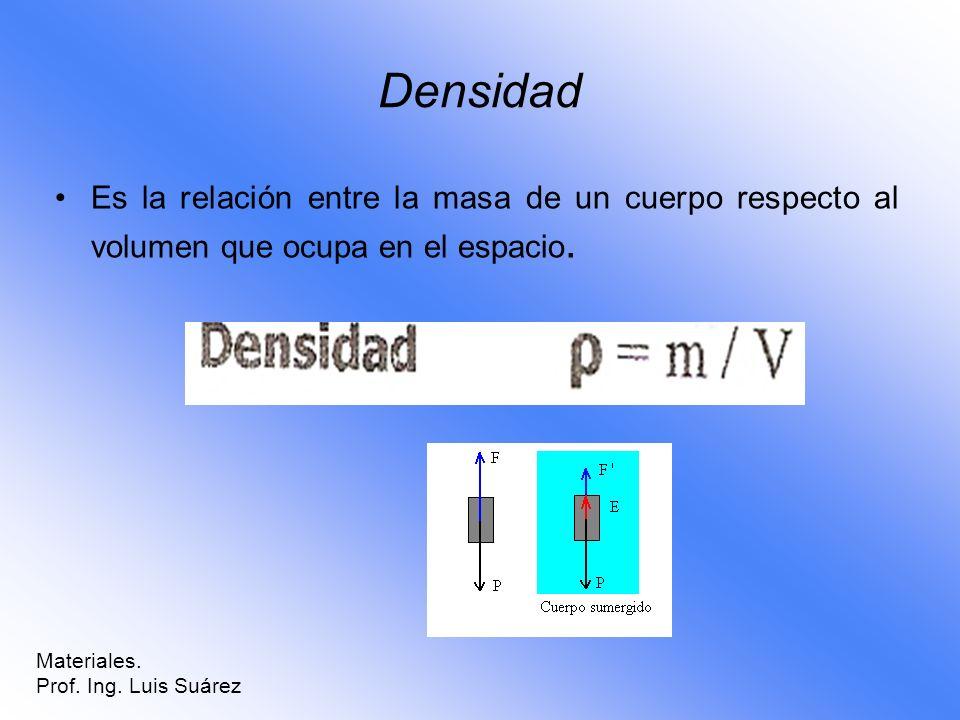 Densidad Es la relación entre la masa de un cuerpo respecto al volumen que ocupa en el espacio. Materiales.