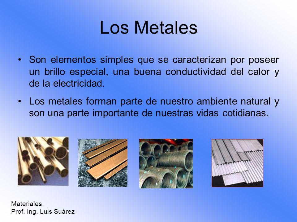 Los Metales Son elementos simples que se caracterizan por poseer un brillo especial, una buena conductividad del calor y de la electricidad.