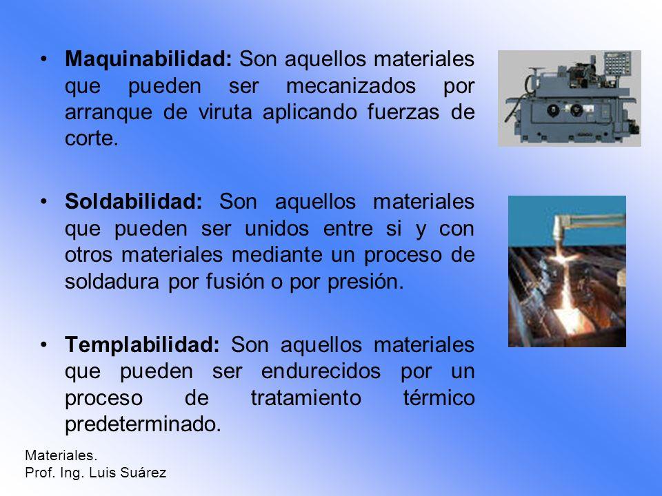 Maquinabilidad: Son aquellos materiales que pueden ser mecanizados por arranque de viruta aplicando fuerzas de corte.