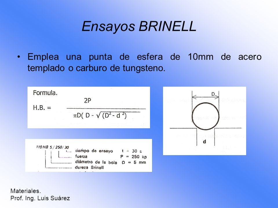 Ensayos BRINELL Emplea una punta de esfera de 10mm de acero templado o carburo de tungsteno. Materiales.