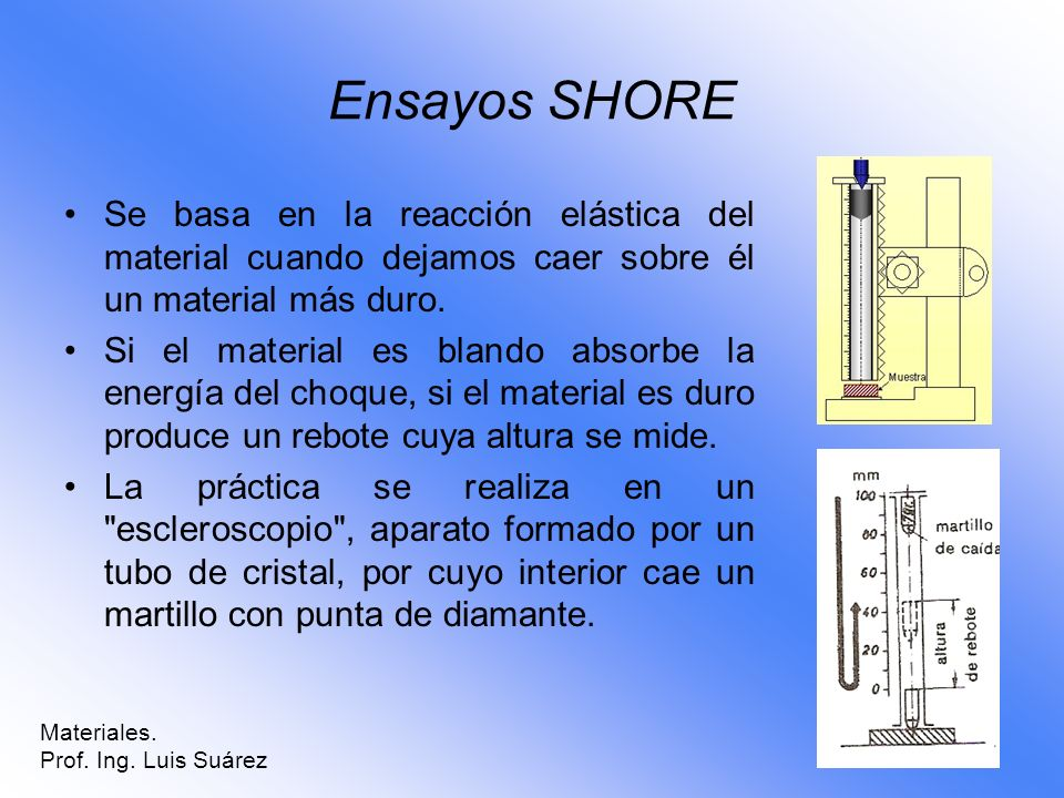 Ensayos SHORESe basa en la reacción elástica del material cuando dejamos caer sobre él un material más duro.