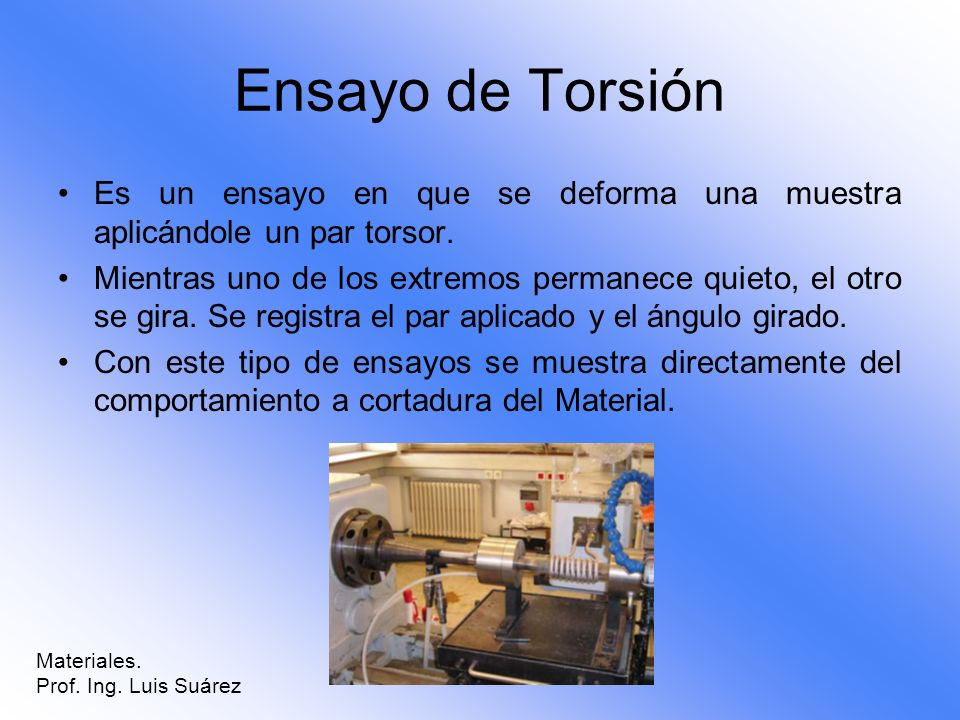 Ensayo de Torsión Es un ensayo en que se deforma una muestra aplicándole un par torsor.