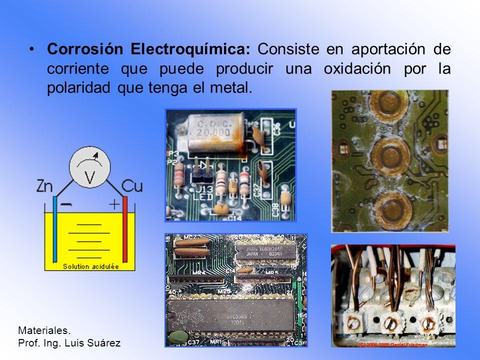 Corrosión Electroquímica: Consiste en aportación de corriente que puede producir una oxidación por la polaridad que tenga el metal.