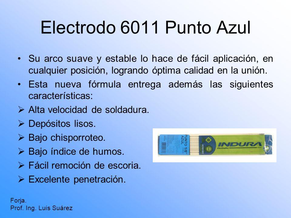 Electrodo 6011 Punto Azul Su arco suave y estable lo hace de fácil aplicación, en cualquier posición, logrando óptima calidad en la unión.