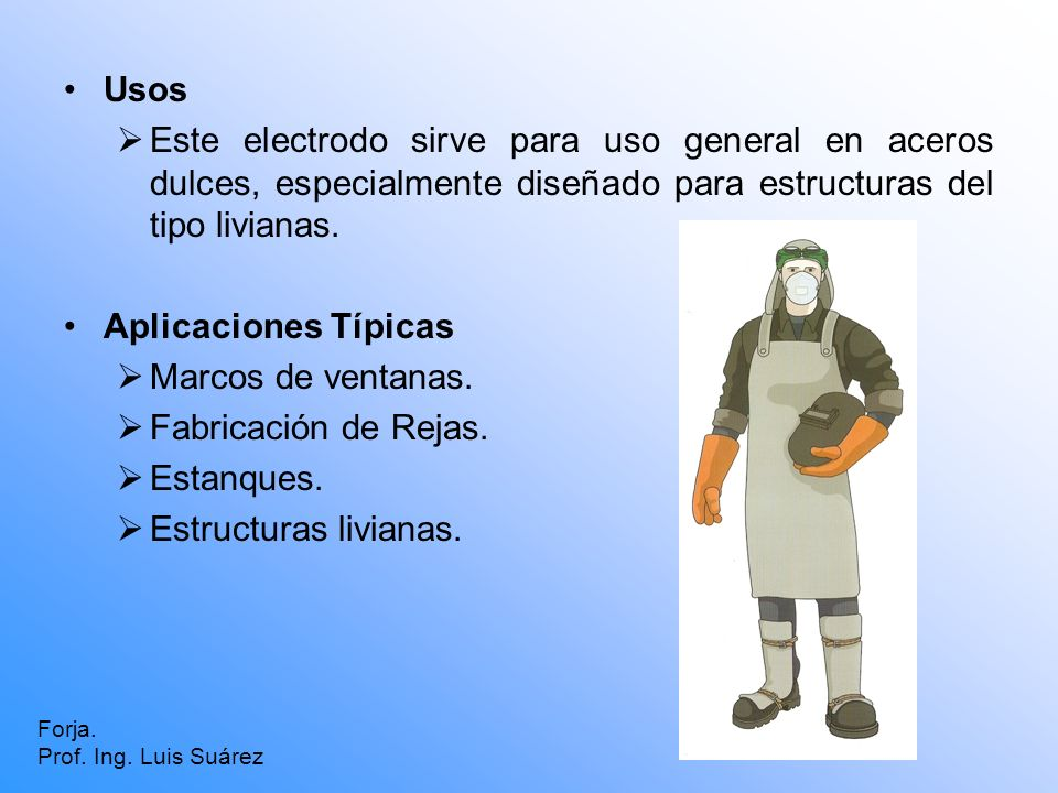 Usos Este electrodo sirve para uso general en aceros dulces, especialmente diseñado para estructuras del tipo livianas.