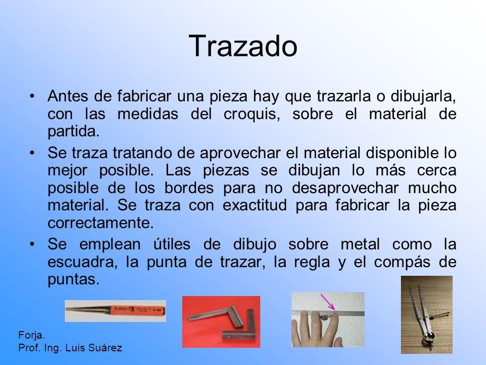 TrazadoAntes de fabricar una pieza hay que trazarla o dibujarla, con las medidas del croquis, sobre el material de partida.