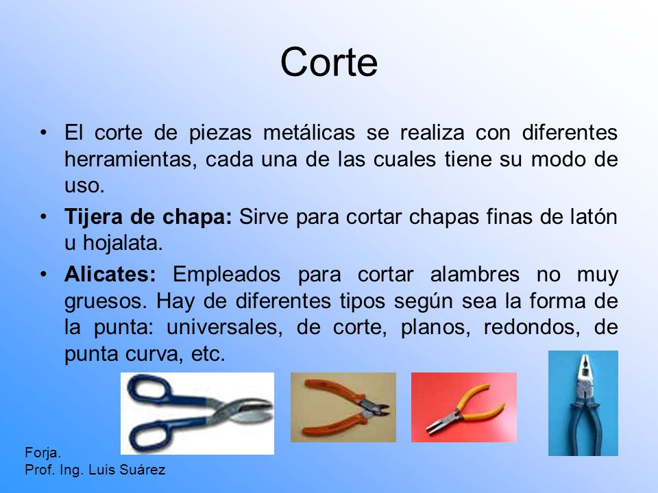 Corte El corte de piezas metálicas se realiza con diferentes herramientas, cada una de las cuales tiene su modo de uso.