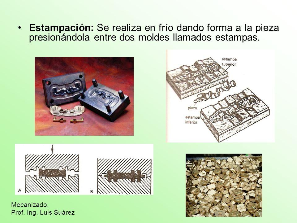 Estampación: Se realiza en frío dando forma a la pieza presionándola entre dos moldes llamados estampas.